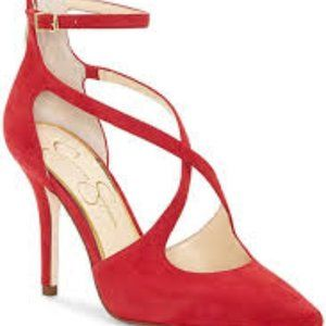 old red heels